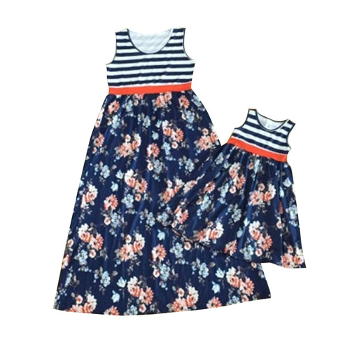 Blue Floral and Stripe Mommy and Me Dress (Sold Separately) - Gabskia