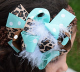 Leopard and Teal 5.5in Boutique Bow