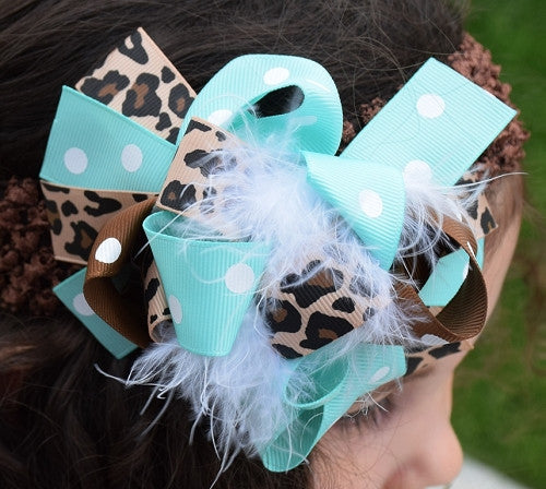 Leopard and Teal 5.5in Boutique Bow - Gabskia