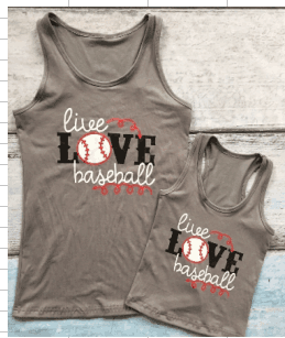 Gray LIVE LOVE BASEBALL Racerback Mommy and Me Tops - Gabskia