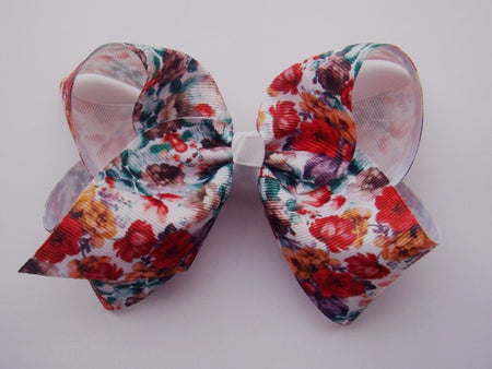 Wine Floral Big Bow Headband