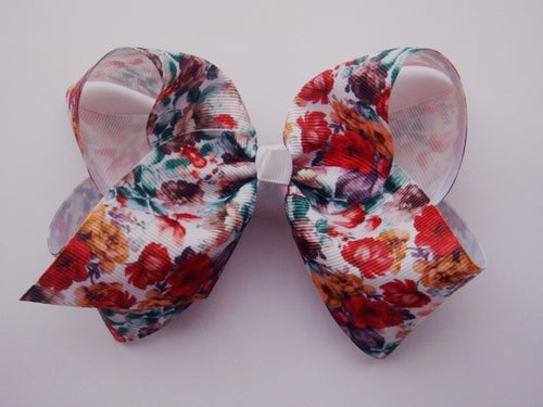 7in Printed Chunky Bow - Fall Floral - Gabskia