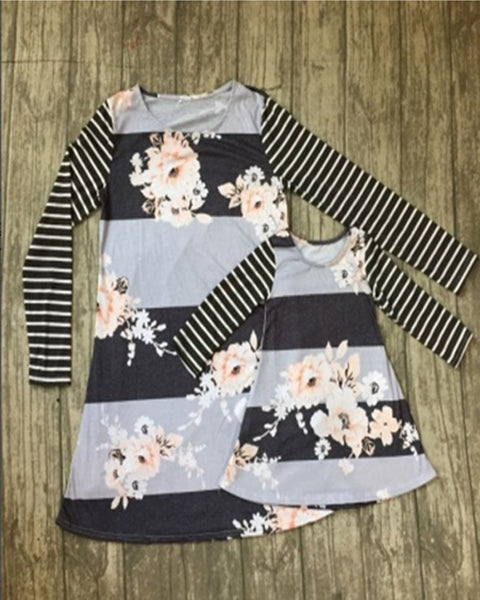 Gray Stripe and Foral Mommy and me Dress - Gabskia
