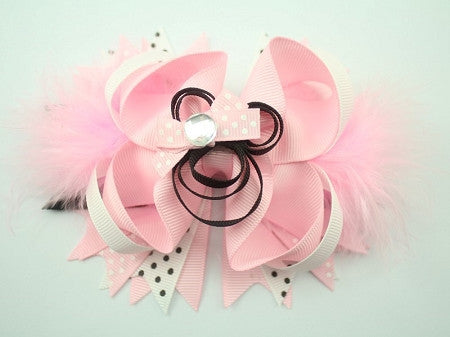 Light Pink Minnie w/Marabou feather 5.5in Bow - Gabskia