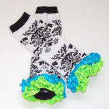 Damask Leg Warmers w/Lime and Turquoise Satin Ruffles