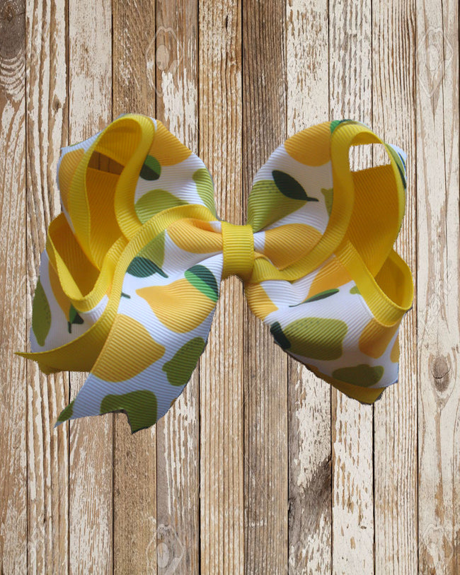 Double Ribbon 6in Boutique Bows - Fruit - Gabskia
