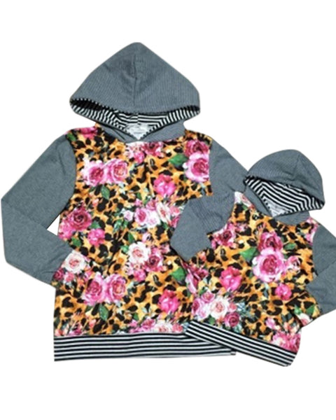 Leopard and Floral Mommy and Me Hooded Top (Sold Separately) - Gabskia