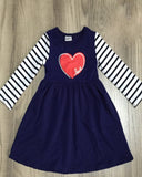 Heart on Navy Long Sleeve Dress - Gabskia