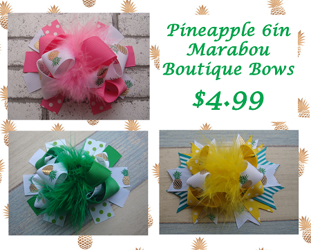 Pineapple 6in Marabou Boutique Bows - Gabskia