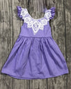 Woven Cross Back  Dress - Lavender - Gabskia
