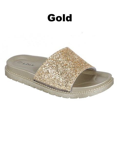 Glitter Slide Sandals - Women - Gabskia