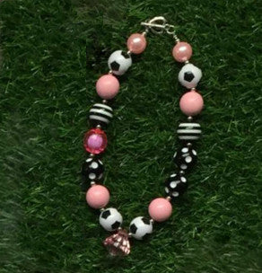 Pink Soccer Chunky Necklace - Gabskia
