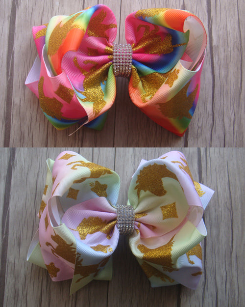 Unicorn 8in Bow w/Rhinestone Center - Gabskia