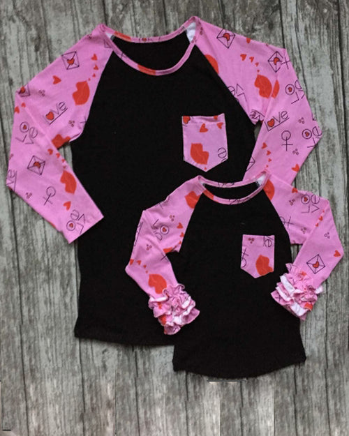 Black w/Pink Sleeves Mommy and Me Tops - Gabskia