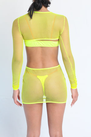 Miami- Neon Yellow Net Cover Up
