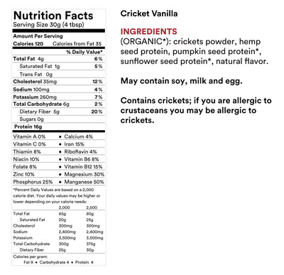 Plant-Based Protein Powder Made With Cricket Powder Vanilla