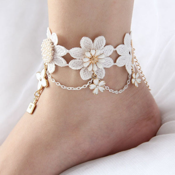 DESIGNER WHITE LACE ANKLET / BRACELET / NECKLACE