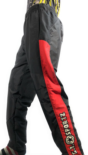 Photos of GI Sportz Grind Pants - Black/Red - Small. Photo taken by drpaintball.com