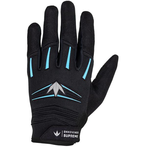 Photos of Bunkerkings Supreme Paintball Gloves - Cyan - Small/Medium. Photo taken by drpaintball.com