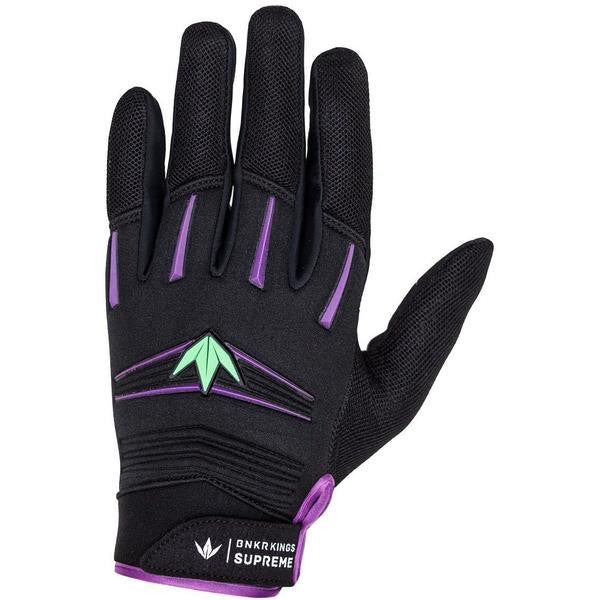 Photos of Bunkerkings Supreme Paintball Gloves - Purple/Lime - Large/XL. Photo taken by drpaintball.com