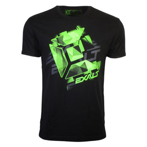 Photos of Exalt Paintball Tee-Shirt - Logo Black/Lime - 3XL. Photo taken by drpaintball.com