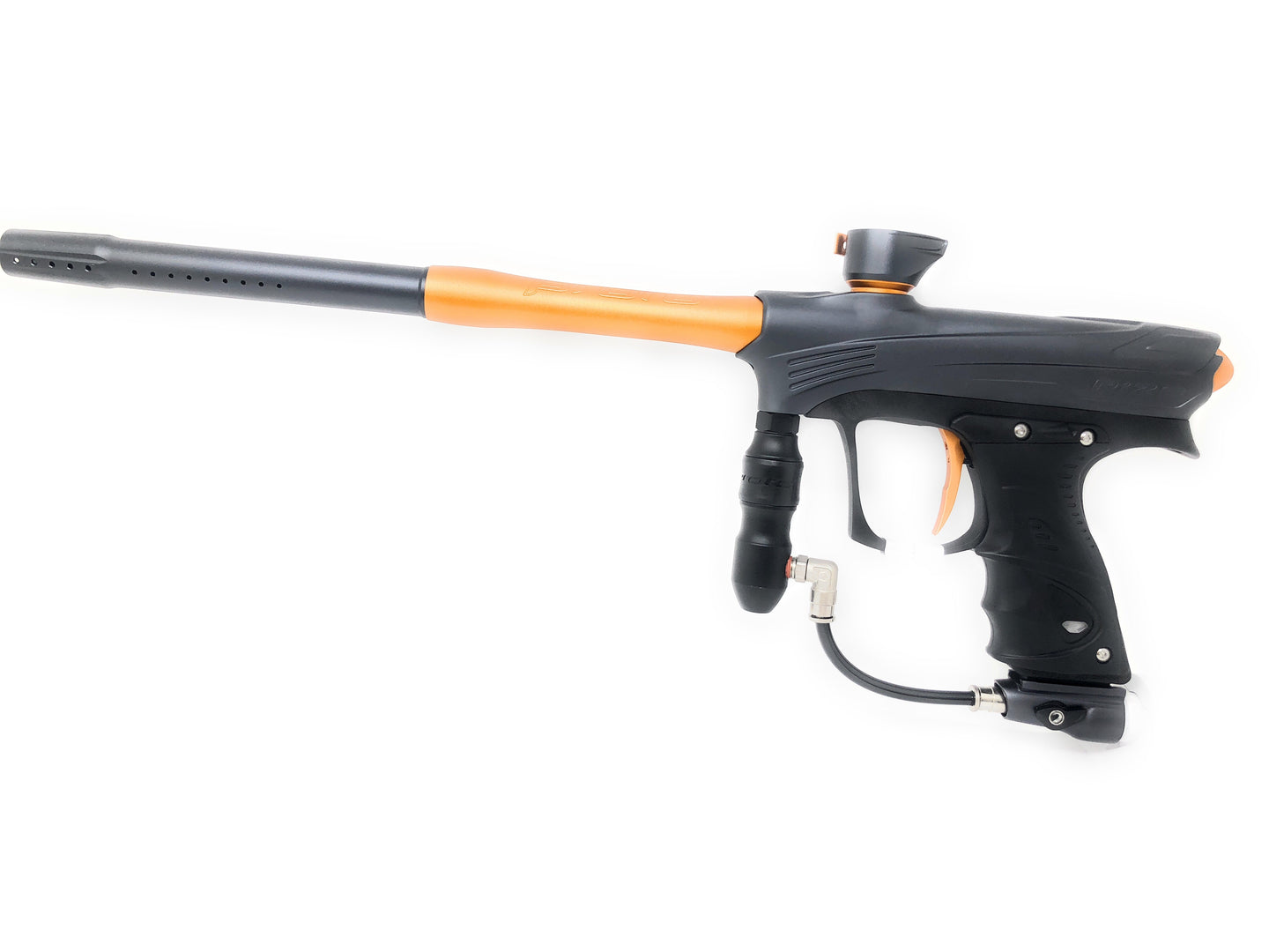 Photos of Dye Rize Maxxed Paintball Marker - Grey/Orange. Photo taken by drpaintball.com