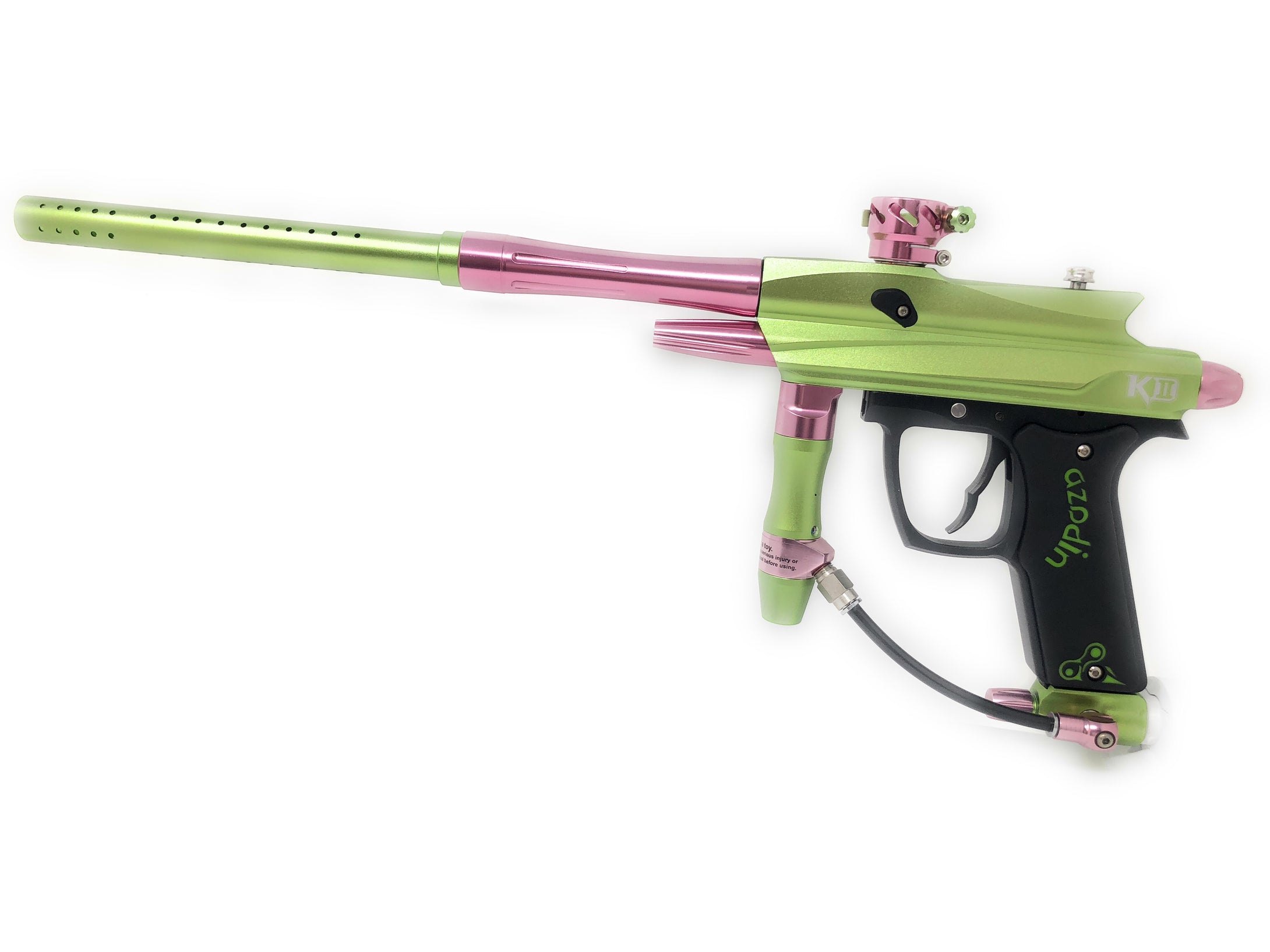 Photos of Azodin KD-II Paintball Marker - Watermelon (Green/Pink). Photo taken by drpaintball.com