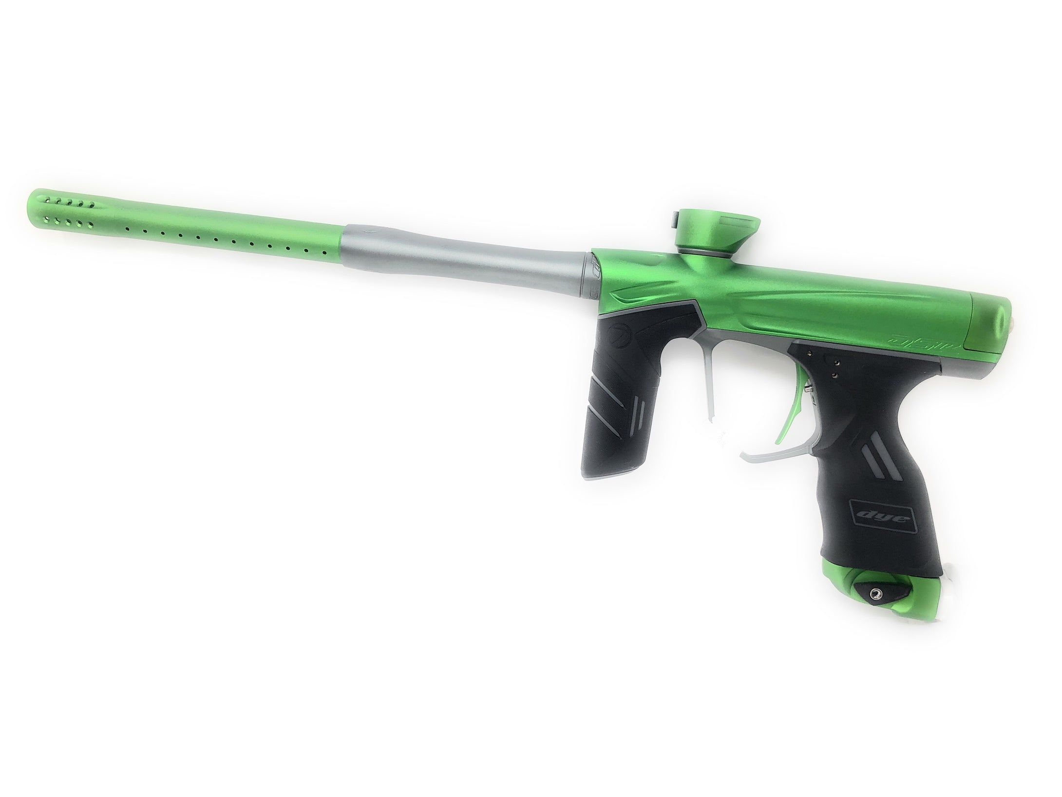Photos of Dye DSR Paintball Marker - Green/Grey. Photo taken by drpaintball.com