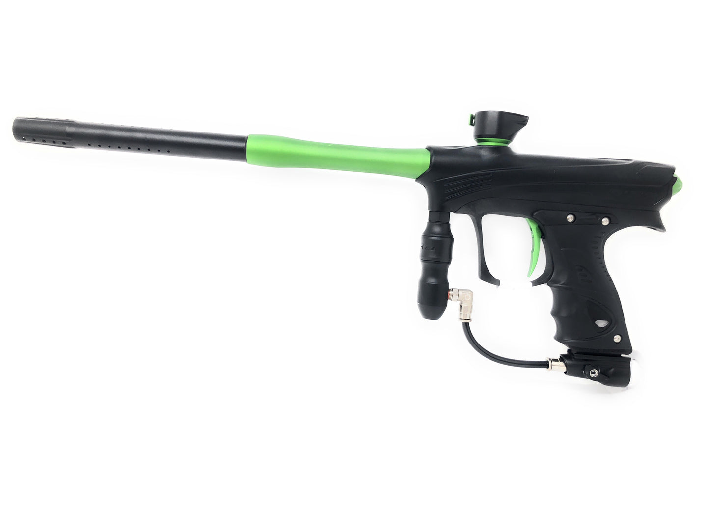 Photos of Dye Rize Maxxed Paintball Marker- Black/Green. Photo taken by drpaintball.com