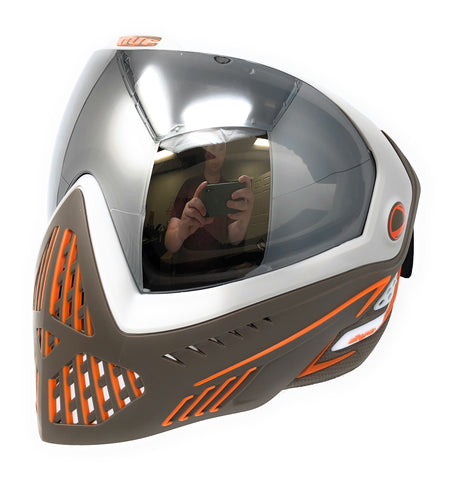 Photos of Dye i5 Paintball Goggle - Lava (Grey/White/Orange). Photo taken by drpaintball.com