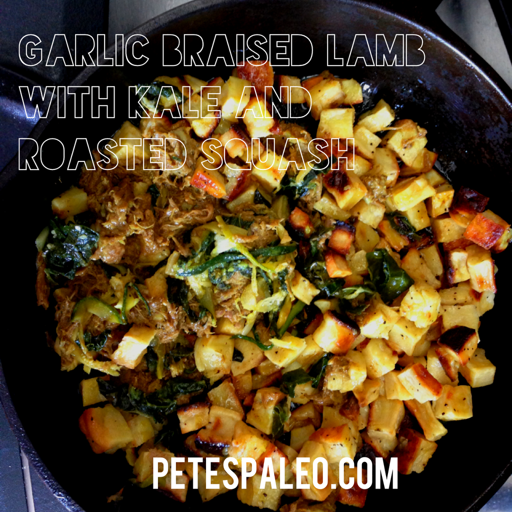 Garlic Braised Lamb with Roasted Squash and Quick Sauteed Kale!