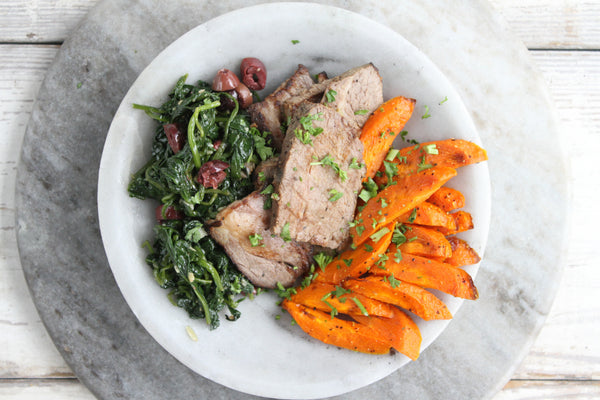 Braised Brisket with Roasted Carrots and Spinach with Olives - Pete's Paleo