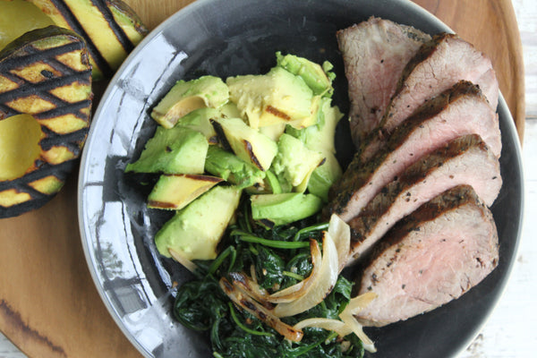 Grilled Grass Fed Tenderloin with Sautéed Garlic Spinach and Grilled Avocado