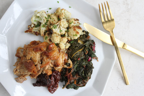 Chipotle Braised Chicken with Swiss Chard and Roasted Cauliflower