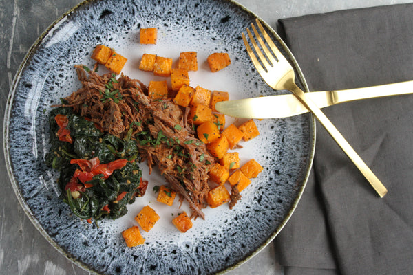 Braised Brisket with Garlic Roasted Tomatoes and Spinach with Butternut Squash - Pete's Paleo