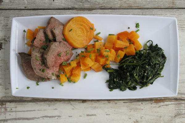 Black Pepper Tenderloin with Golden Beets and Sautéed Spinach - Pete's Paleo