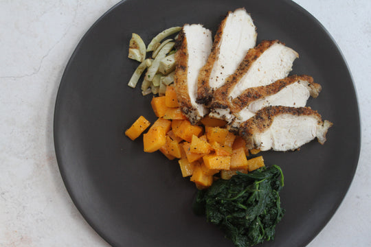 Fennel Sage Turkey Breast with Butternut Squash and Spinach