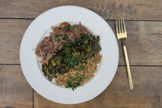 Pork Butt with Collard Greens over Quinoa