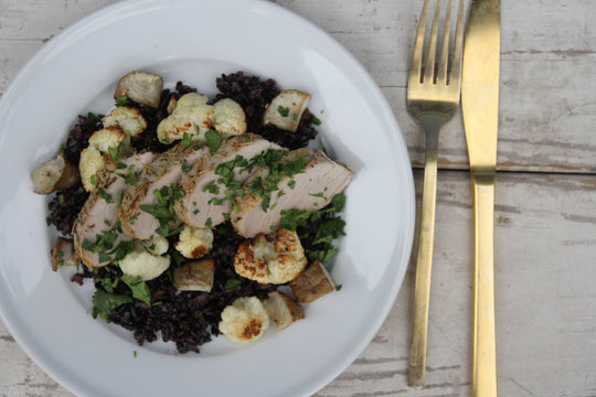 Pork Tenderloin with Cauliflower and Sunchokes over Black Rice