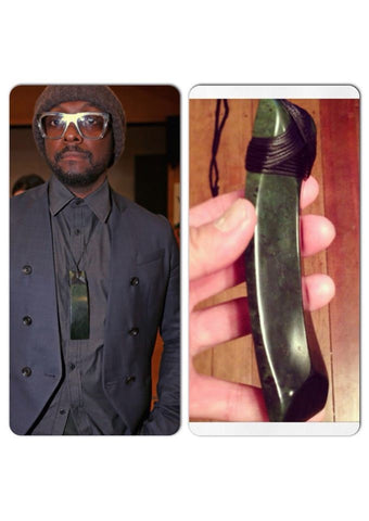 WILL I AM wearing Kiri Nathan Pounamu - carved by Jason Nathan