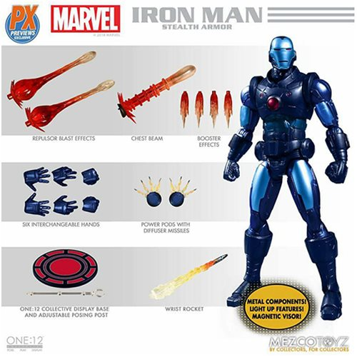 Mezco - One:12 Collective Action Figures - Iron Man - Stealth Armor Suit - PX Exclusive