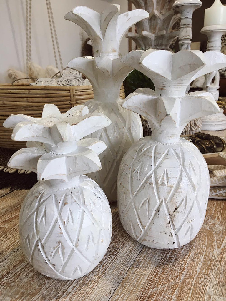 Wooden Pineapple Set of 3