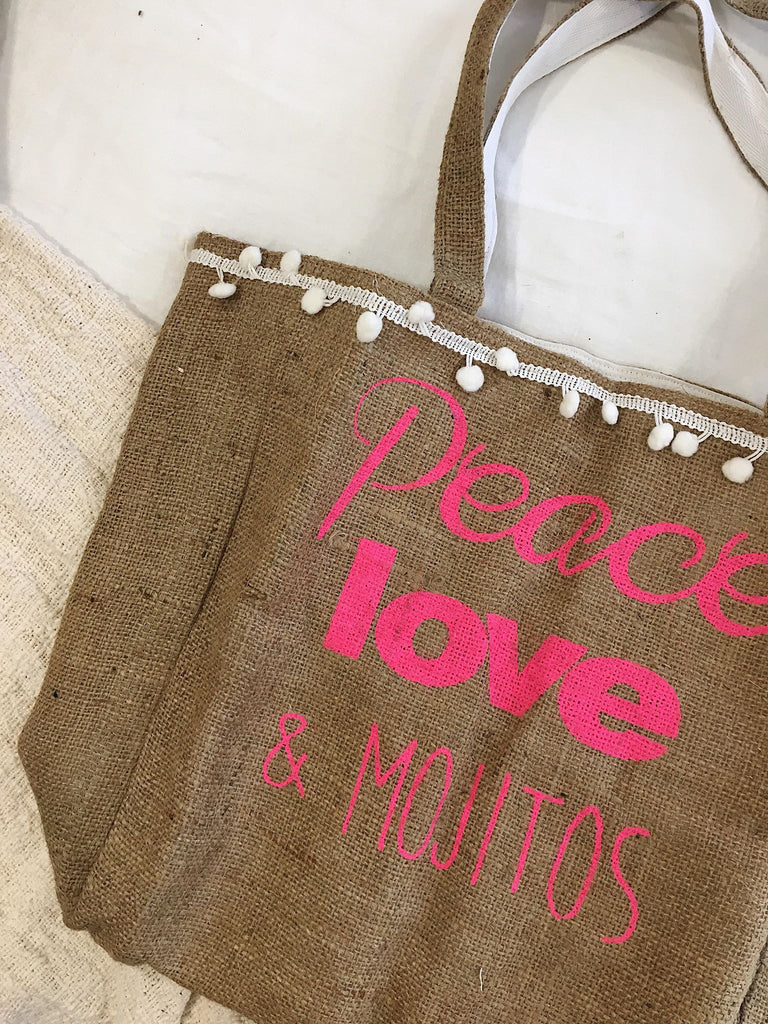Peace, Love & Mojitos Pom Pom Tote Bag