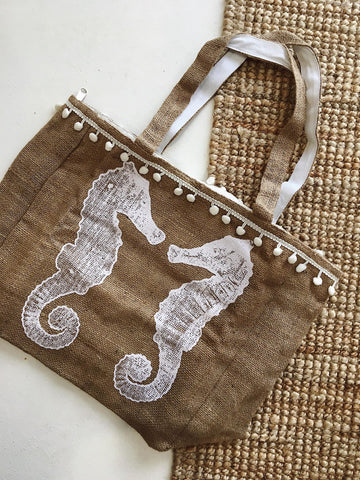 Sea Horse Pom Pom Tote Bag