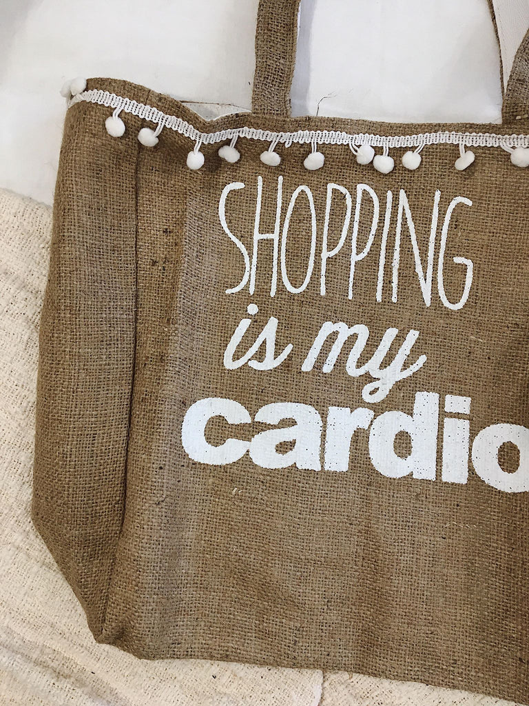Shopping Is My Cardio Pom Pom Tote Bag