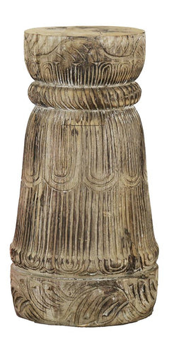 Carved Indian Pillar Candle Holder