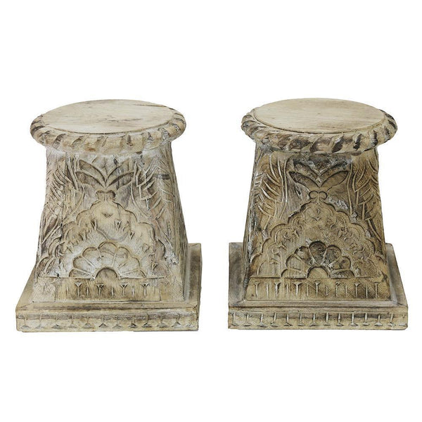 Carved Plinth Candle Holder - Small