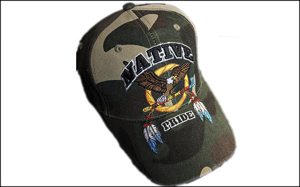 Native camo flying eagle Baseball Cap