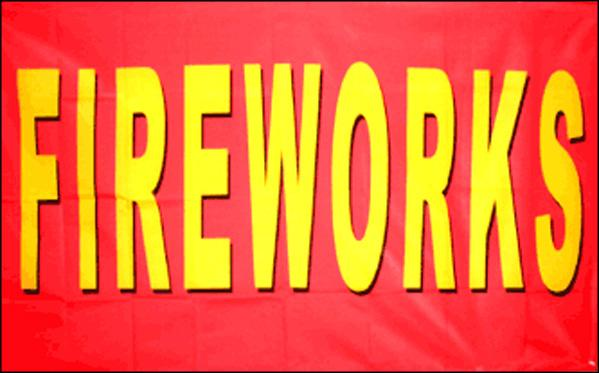 "Fireworks on Red Background 36""x 60"""