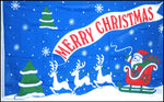 "Blue Christmas Greeting w- Sleigh 36""x 60"""